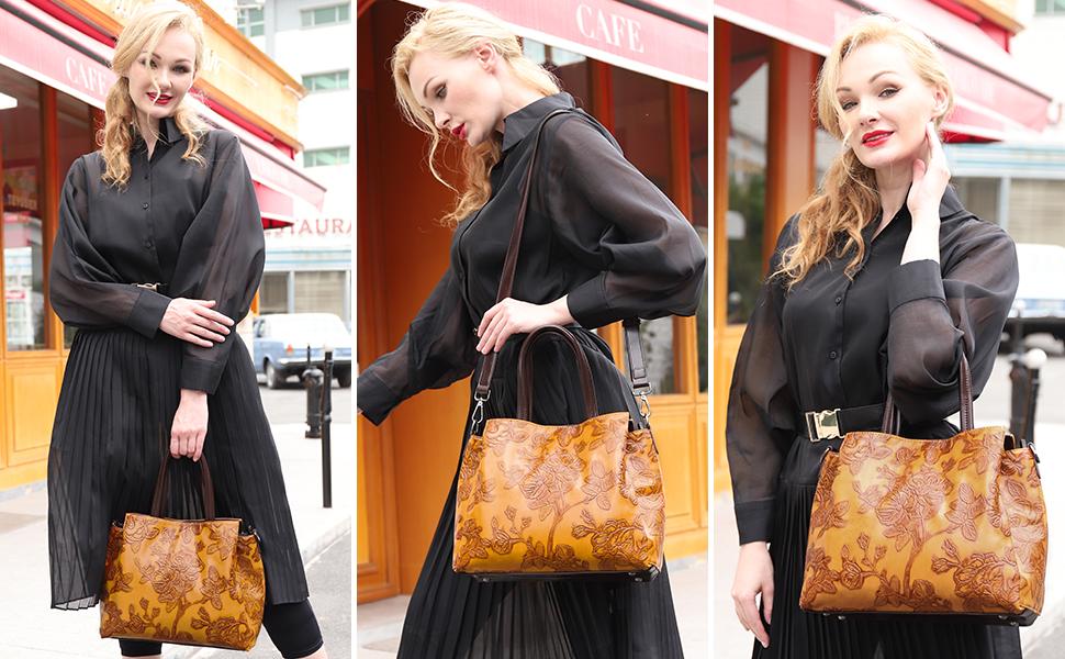 Embossed handbags purses for women