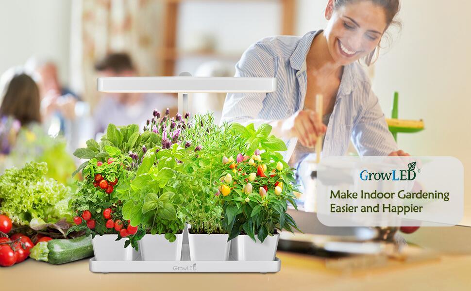 GrowLED height adjustable I Shape indoor herb garden kit makes indoor gardening much easier