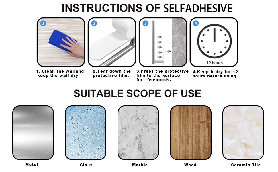 instructions or selfadhesive
