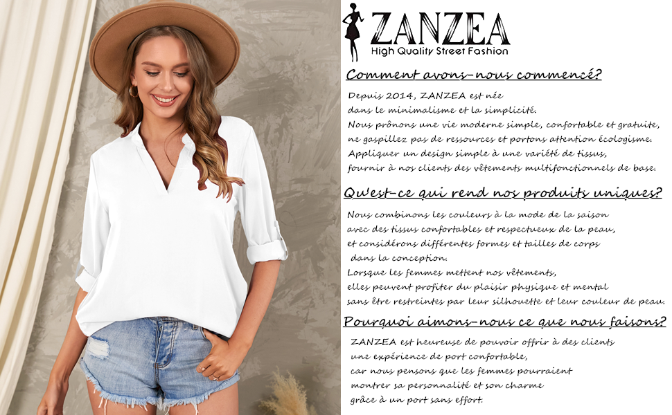 ZANZEA Femme Sexy Chemisiers à Col V Lâche Tunique Eté Plage Casual Mousseline en Soie Shirt Longues Blouse