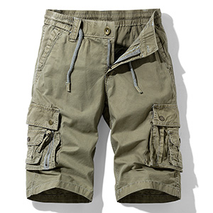 Hot island Men's Relaxed Fit Multi Pockets Big and Tall Size Outdoor Cargo Shorts Khaki