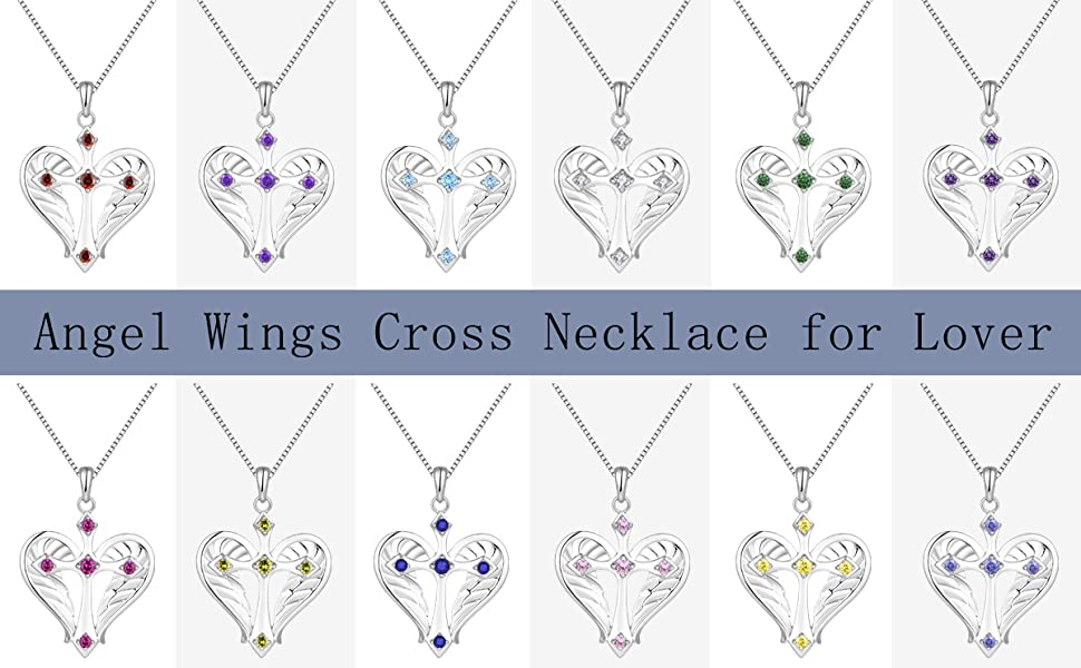 Cross Necklace 925 Sterling Silver Heart Angel Wings Pendant Necklace for Women