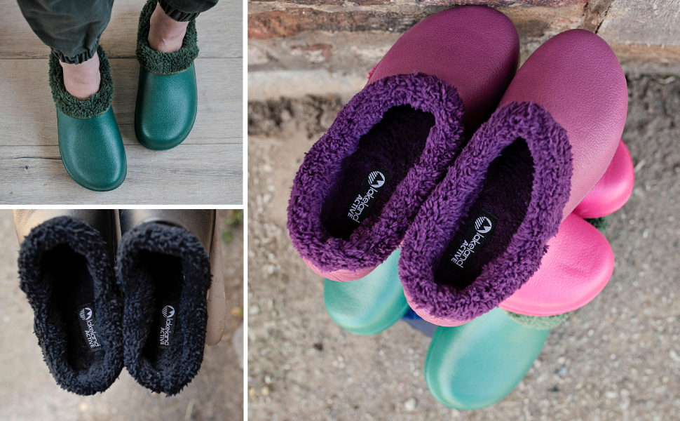 Womens ladies garden clogs lined fluffy warm fleece lining soft winter garden shoes cosy comfortable