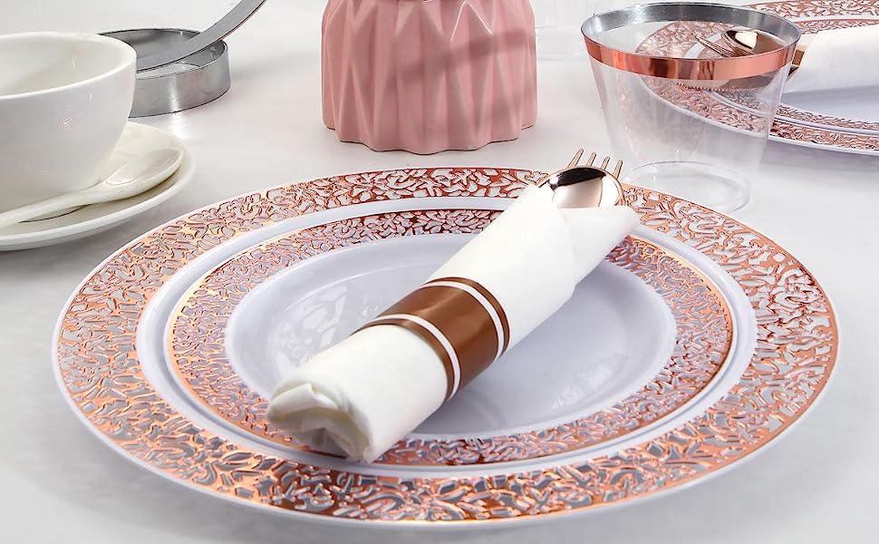 Rose gold plastic dinnerware