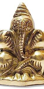 brass ganesha conch shape gold finish
