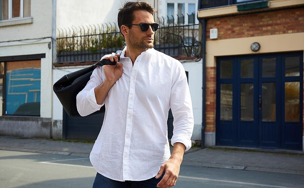 Jack Stuart camisa hombre lino algodon