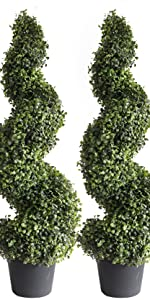 Artificial Boxwood Spiral Topiary Trees