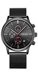 MEGIR Mesh Band Watches with 3 Eye Analog Chronograph Fashion Luminous AUTO Date Quartz Watches…
