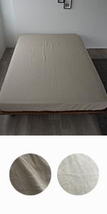 麻100% ベッドシーツ フレンチリネン ボックスシーツ 抗菌 防臭 洗える