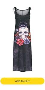 Women Spaghetti Strap Long Dress Gothic Skeleton Print Sleeveless