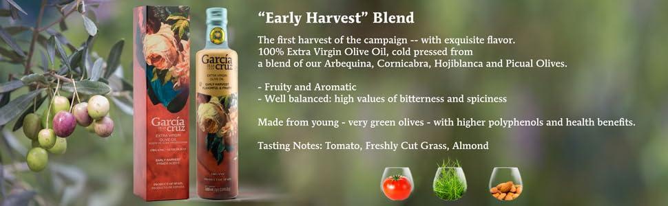 Garcia de la Cruz Early Harvest Premium Extra Virgin Cold Pressed Spanish Olive Oil for Parties