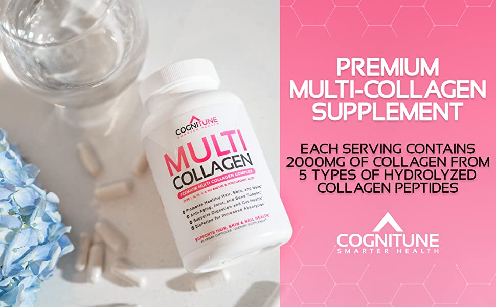 Premium Multi Collagen Capsules. 2000mg of collagen per serving from 5 types of collagen peptides.