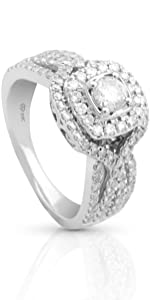 Diamond Engagement Ring with 14K White Gold