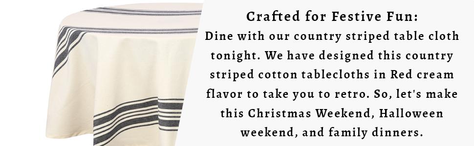 Cotton Tablecloth - Blue Cotton Tablecloth - Cotton Tablecloth Round - Farmhouse Tablecloth