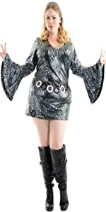 Charades Adult Psychedelic Swirl Disco Diva Costume Dress