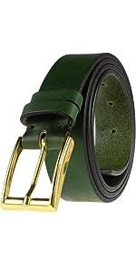 green handmade leather belt