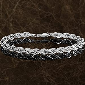 made in USA since 1987 7mm rope chain bracelet in white gold