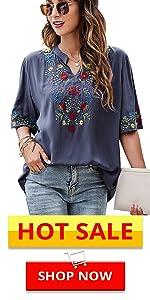 V-neck embroidered shirt