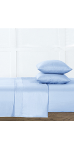 2-Light blue Fresh Protect Silver-Infused Cotton 4-Piece Sheet Set