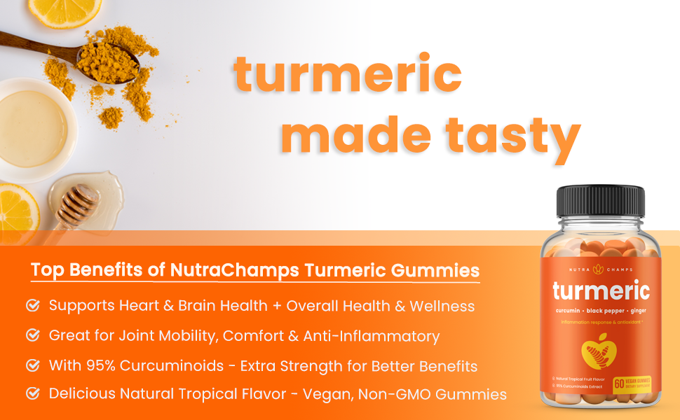 turmeric curcumin gummies with black pepper and ginger gummy supplement