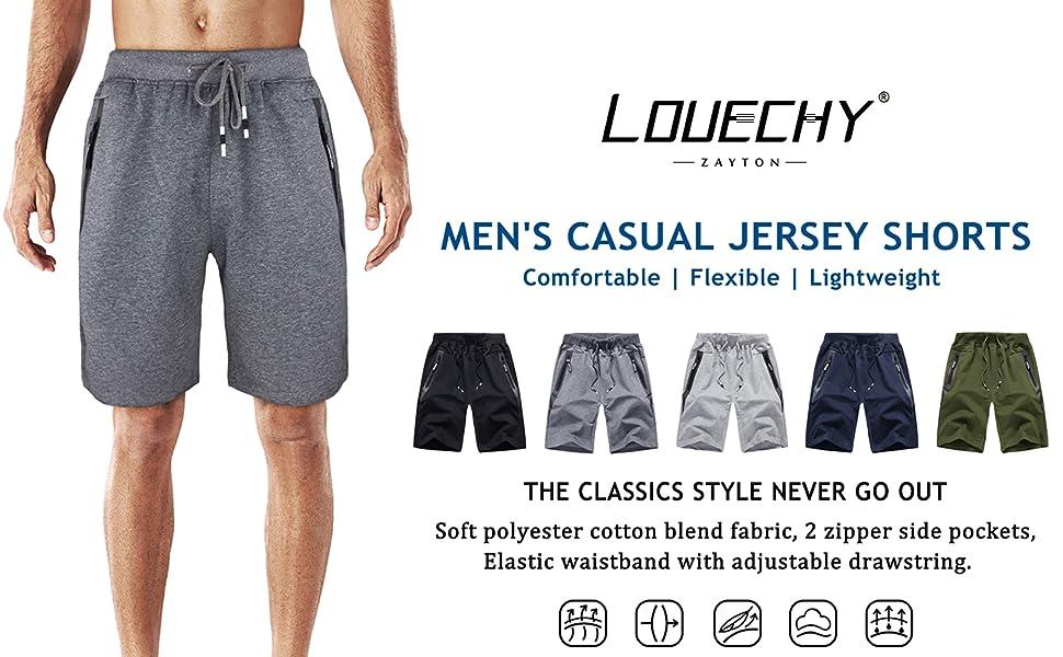 LOUECHY Men's Casual Jersey Shorts