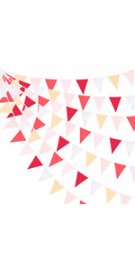 Red Dusty Rose Blush Pink Pennant Banner Fabric Triangle Flag Cotton Bunting Garland