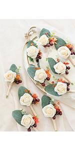 Terracotta Wedding Boutonnieres (Set of 10)