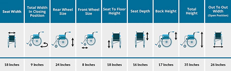 VMS Careline Foldable Wheelchair Select Dimensions