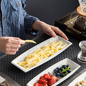 Marble Gray Side Dish Plates Rectangular Porcelain Dessert Plates Serving Platters