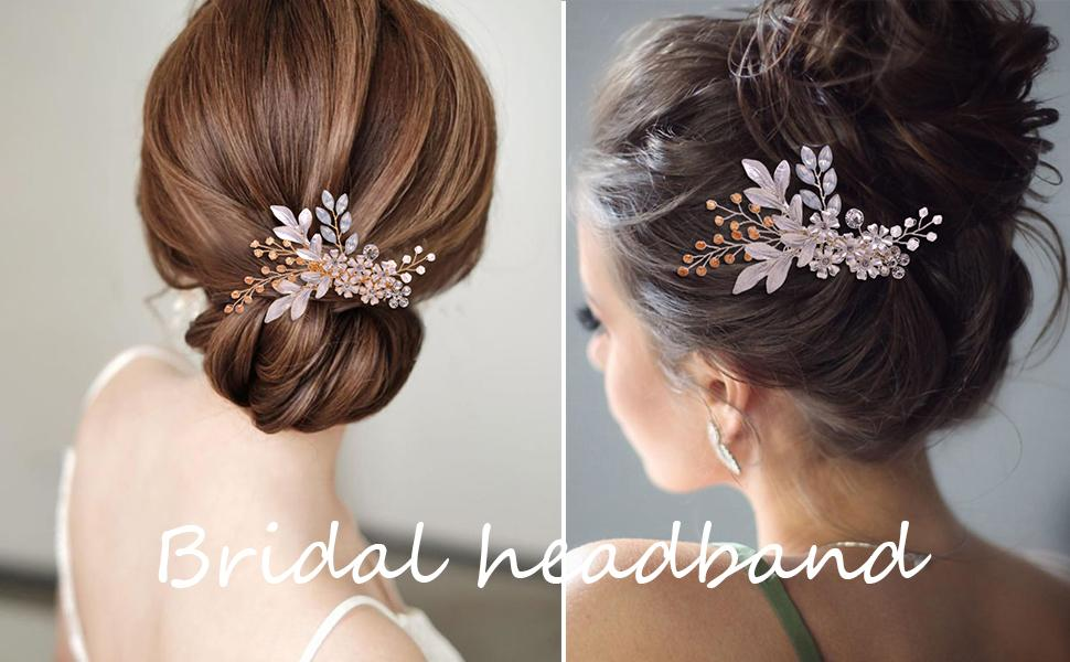 Hand-made wedding headpiece, crystal clear crystal and soft matte alloy tone.