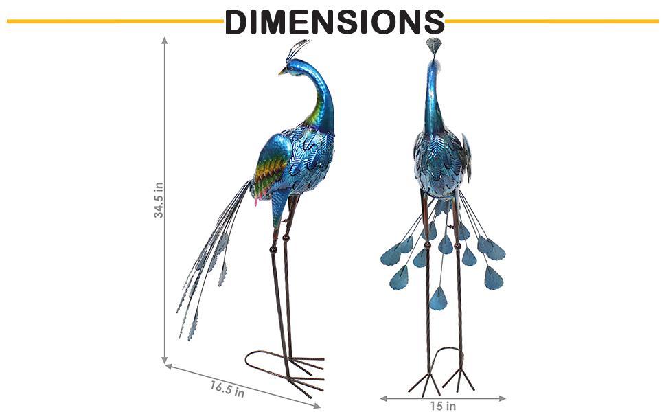 Metal peacock statue dimensions