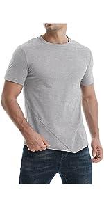 Mens Hipster Hip Hop Casual Short Sleeve Tee Solid Soft Cotton Irregular Hem T-Shirt