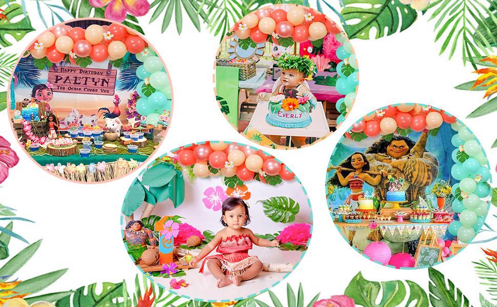 moana Themed Birthday Balloons Garland