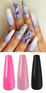 pink white nude black purple coffin press on nails luxury ombre false nail