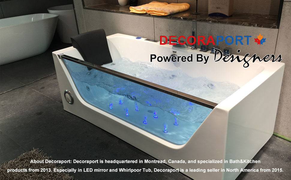Decoraport 68 In Massage Bathtub with Air Bubble, Computer Panel and Light