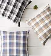 Collection of assorted colors of buffalo check pillow covers