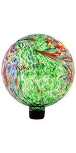 Sunnydaze Green Artistic Glass Gazing Ball Globe - 10-Inch