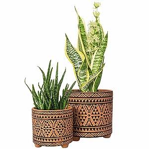 Set of 2 Planter Pots, 4 Inch amp; 6 Inch