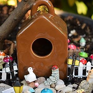 Ceramic Brown Miniature Birdhouse For Fairy Garden