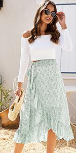 Women Floral Long Midi Skirt