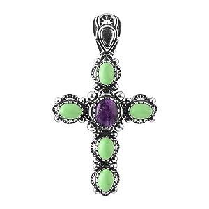 sterling silver gemstone cross pendant enhancer