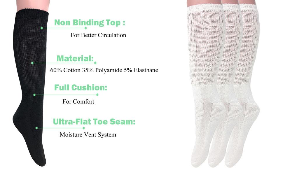 diabetic over the calf socks
