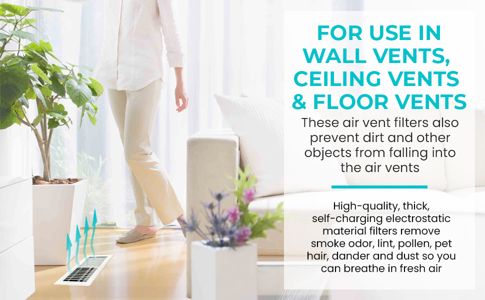 woman walking by an air vent with a filter in it. Flowers on the floor. Clean white drapes.