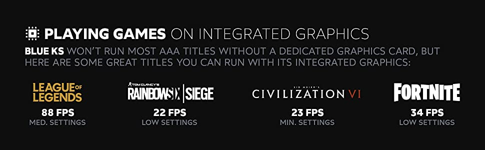 Here are some great titles you can run; League of Legends, Rainbow 6 Siege, Civ 6, and Fortnite
