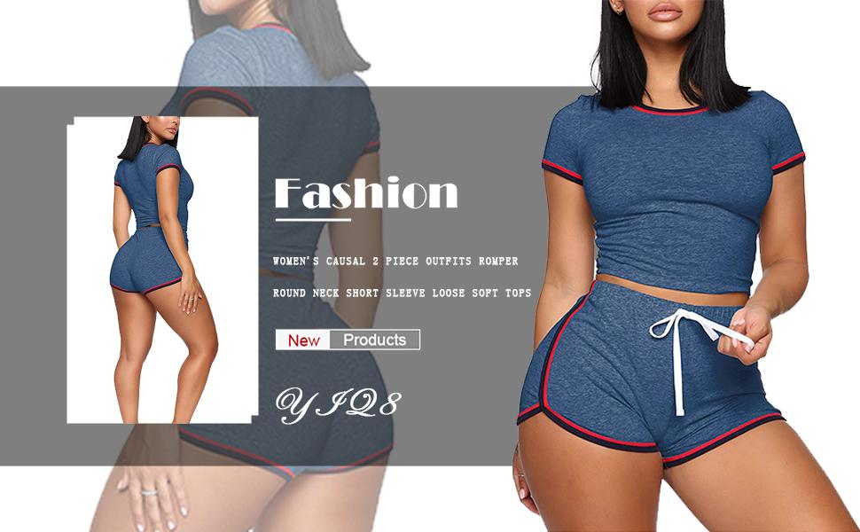 Design casual two piece outfits sets casual top pants, long pants set ready daily, workout party