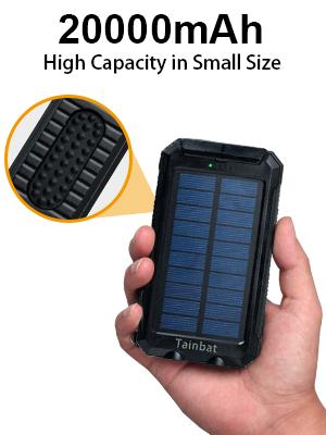 portable solar power bank 20000mah chargers camping hiking waterproof cell phone electronic devices