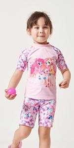 Julysand Toddler Girls My Little Pony Rash Guard Swimsuit Two Piece Swimwear Pink Beachwear