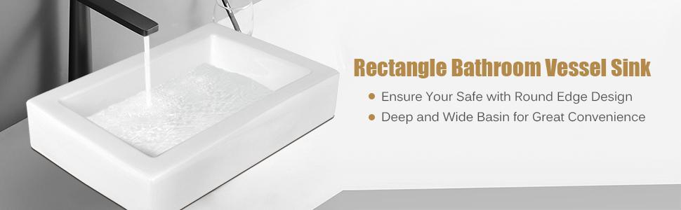 Rectangle Bathroom Vessel Sink