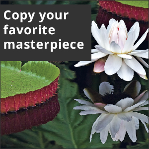 Picture of lily in a pond. White text reads: Copy your favorite masterpiece.