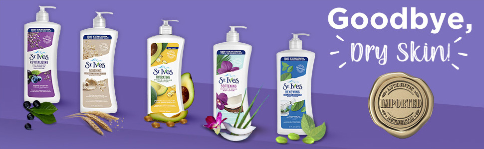 STIVES BODY LOTION, DRY SKIN, PARABEN FREE, DERMATOLOGIST TESTED, CRUELTY FREE, NO GREASY FORMULA